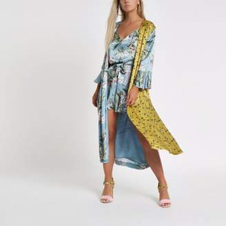 River Island Womens Petite blue mixed floral print duster jacket