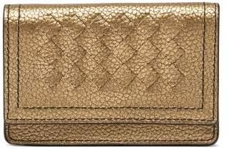 Bottega Veneta Intrecciato Leather Card Holder - Womens - Gold