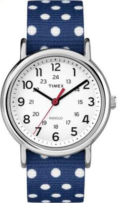 Timex Women's Weekender Blue and White Polka Dot Reversible Nylon Strap Watch
