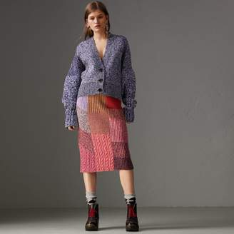 Burberry Cashmere-wool Mouliné Patchwork Skirt