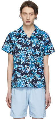 Naked & Famous Denim Denim Navy and Blue Big Tropical Aloha Shirt