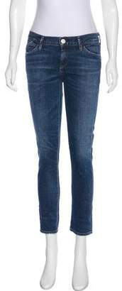 Gold Sign Low-Rise Skinny Jeans