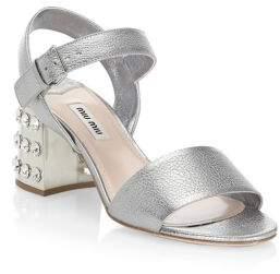 Miu Miu Floral Leather Ankle-Strap Sandals
