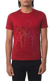 Emporio Armani Jersey T-Shirt With Flowers Pomegranate