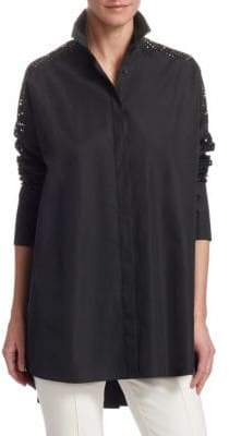 Akris Punto Lace-Insert Cotton Blouse