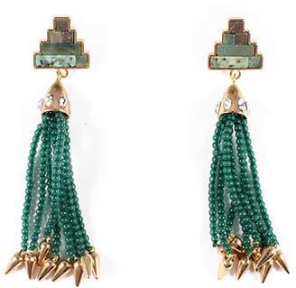 Lulu Frost Ortigia Tassel Drop Earrings, Green