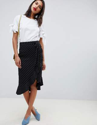Oasis wrap midi skirt with frill detail in polka dot