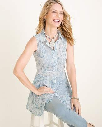 Chico's Chicos CINO for Blue Printed Sleeveless Crinkle Tunic