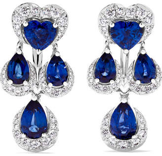 Chopard 18-karat White Gold, Sapphire And Diamond Earrings