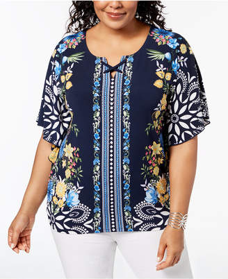 JM Collection Plus Size Embellished Floral-Print Top, Created for Macy's