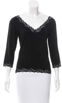 Joseph Long Sleeve Lace-Trimmed Top