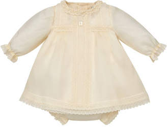 Carrera Pili Long-Sleeve Silk Organdy Christening Dress w/ Bloomers, Size 6M-2