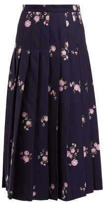 Gucci Floral Jacquard Pleated Cotton Blend Midi Skirt - Womens - Navy Multi