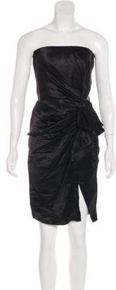 Lanvin Linen-Blend Strapless Mini Evening Dress w/ Tags