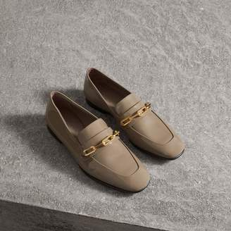 Burberry Link Detail Patent Leather Loafers