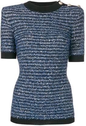 Balmain striped tweed knit top