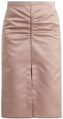 No.21 NO. 21 Ruched duchesse-satin midi skirt