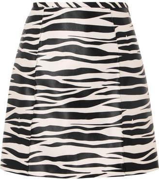 we11done - Zebra-print Satin Mini Skirt - Zebra print