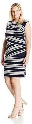 Adrianna Papell Women's Womans Slvless Stripe Bodycon DRS