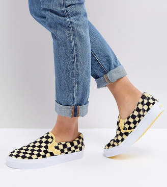 c921115627f8 Vans Fluffy Yellow Checkerboard Slip On Trainers