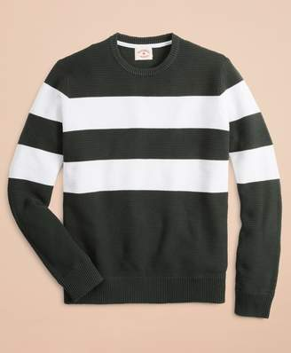 Brooks Brothers Striped Waffle Crewneck Sweater