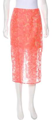 Veronica Beard Embroidered Midi Skirt