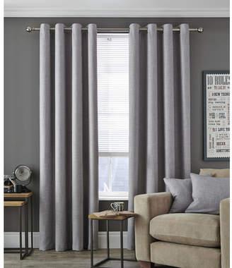 Accessorize Dove Grey Vermont Eyelet Curtain Set