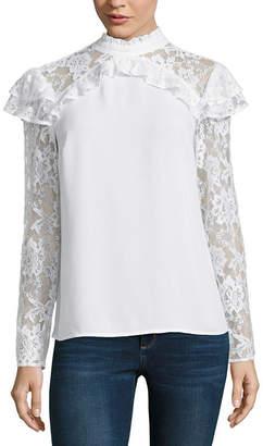 BELLE + SKY Long Sleeve Mock Neck Lace Ruffle Top