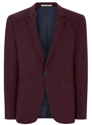 Topman Mens Red Burgundy Muscle Fit Suit Jacket