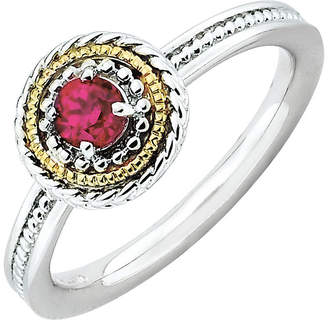 JCPenney FINE JEWELRY Personally Stackable Two-Tone Lab-Created Ruby Ring in 10K White Gold over Sterling Silver