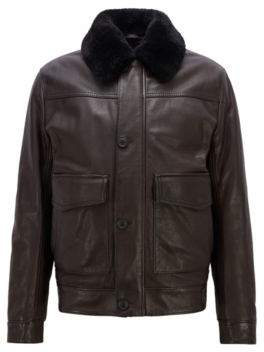 BOSS Hugo Slim-fit aviator jacket in milled leather shearling collar 38R Dark Brown