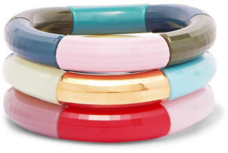 Kyoto Tango - Cancan, Riding Witches And Rainbow Army Set Of Three Resin And Gold-plated Bangles - Blue