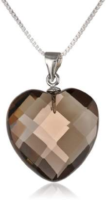 Sterling Smoky Quartz Heart-Shape Pendant Necklace