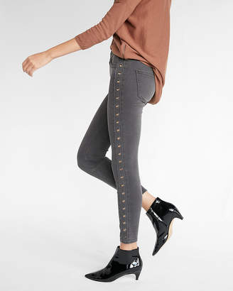 Express High Waisted Metal Grommet Stretch Ankle Jean Leggings