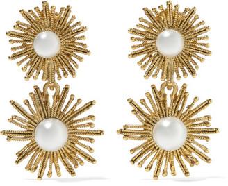 Oscar de la Renta - Sun Star Gold-plated Faux Pearl Clip Earrings $275 thestylecure.com