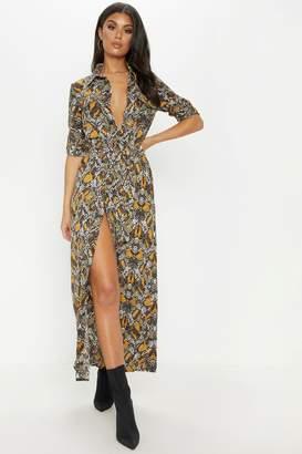 a2f4037557 Next Womens PrettyLittleThing Snake Print Maxi Shirt Dress
