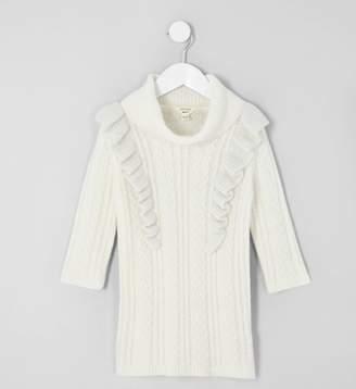 River Island Mini girls Cream cable frill jumper dress