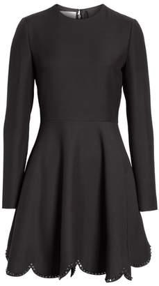 Valentino Studded Scallop Hem Dress