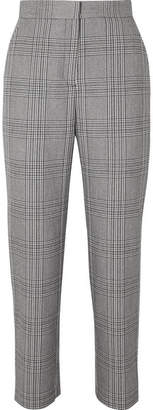 Maje Checked Woven Tapered Pants - Gray