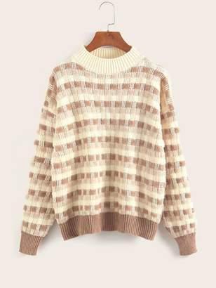 Shein Waffle Knit Fluffy Stand Collar Sweater
