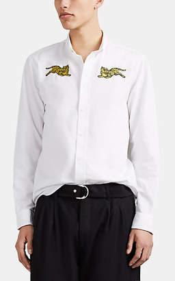 Kenzo Men's Tiger-Embroidered Cotton Shirt - White
