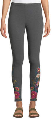Johnny Was Katina Leggings w/ Floral Embroidery