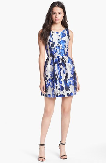 Kensie Print Fit & Flare Dress