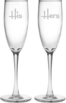Susquehanna Glass Co. His and Hers Champagne Flute Glasses (Set of 2)