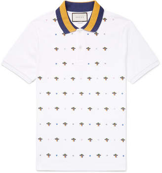 Gucci Slim-fit Ufo-embroidered Stretch-cotton Piqué Polo Shirt - White