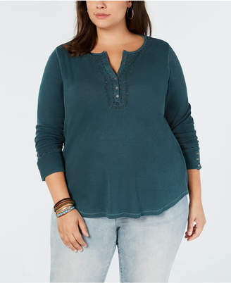 Lucky Brand Trendy Plus Size Cotton Embroidered Henley Top