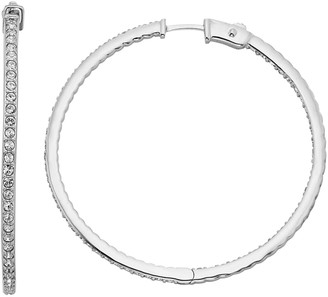 Diamond Splendor Sterling Silver Crystal & Diamond Accent Inside-Out Hoop Earrings