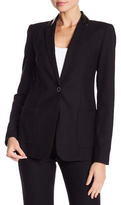 Elie Tahari Wendy Leather Collared Wool Jacket