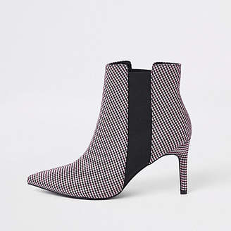 River Island Red check print pointed slim square heel boot