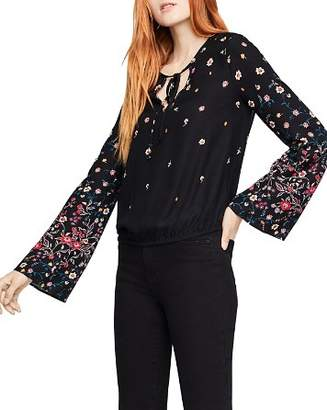 BCBGeneration Floral Print Bell-Sleeve Top